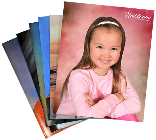 Stack of child school portraits