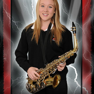Poster of girl posing with saxophone