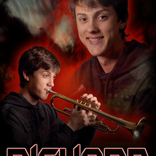Poster montage of boy posing with trumpet