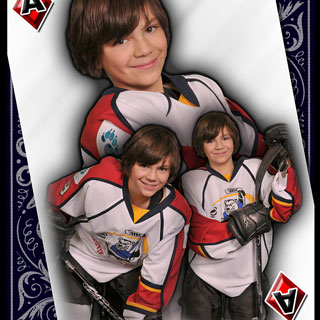 Poster montage of young hockey player