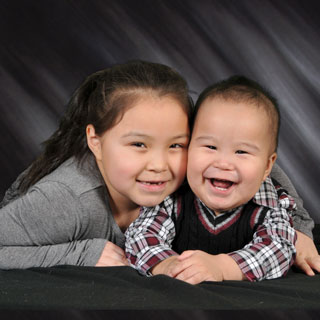 Portrait of two children in studio